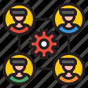 diagram, gear, man, business, organization