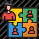 jigsaw, puzzle, man, business, organization