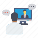 chat, conference, conversation, meeting, video icon