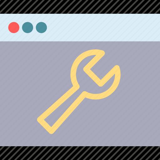 browser, internet, intranet, mechanic, server, tool icon