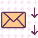 arrow, download, email, envelope, guardar, mail, message, save icon