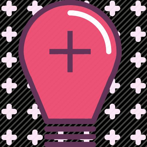 brightness, lightbulb, plus icon