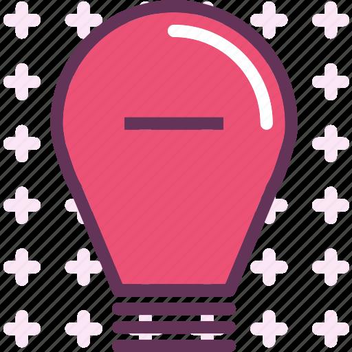 brigthness, lightbulb, minus icon