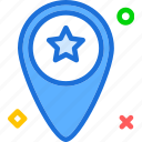 map, pin, point, star