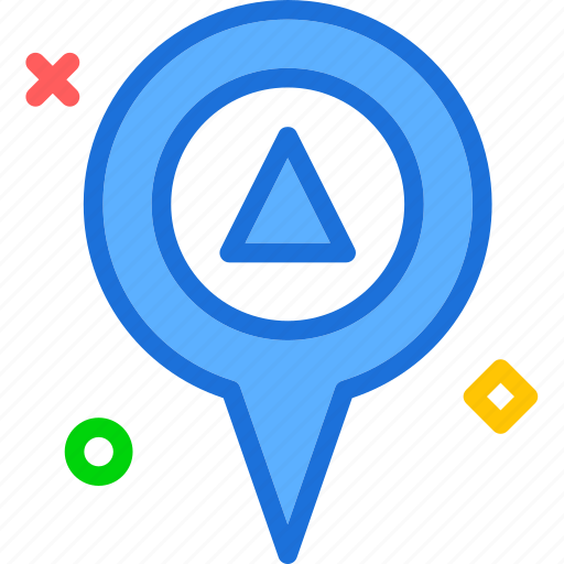 map, pin, point, up icon