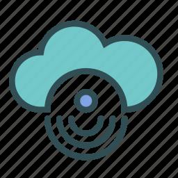 circle, cloud, internet, signal icon