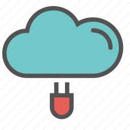 cloud, connect, network, plug icon