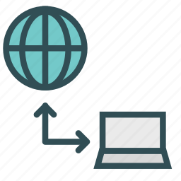 connection, device, internet, laptop, network, portable icon