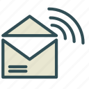 envelope, letter, mail, signal, wireless icon