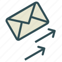 arrow, envelope, letter, mail, up icon