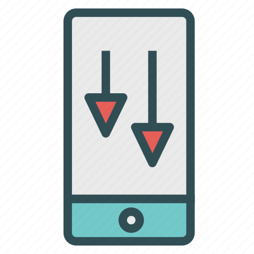 arrow, device, down, download, phone, smart icon