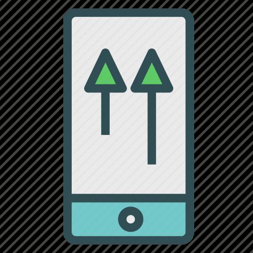 arrow, device, phone, smart, up, upload icon
