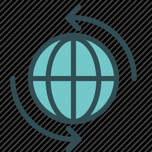 arrow, globe, move, spin, world icon