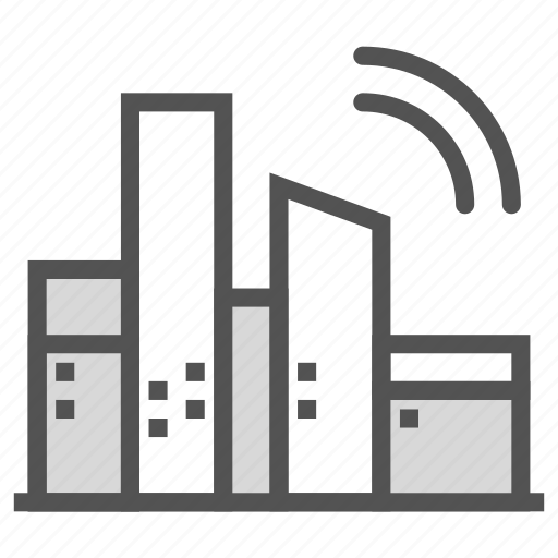 buildings, city, signal, wireless icon