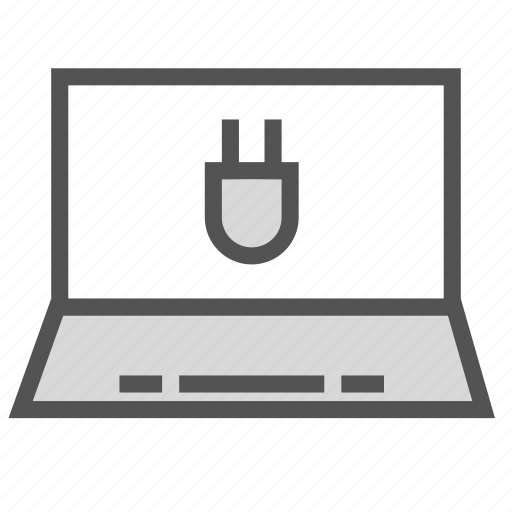 computer, laptop, plug, portable icon