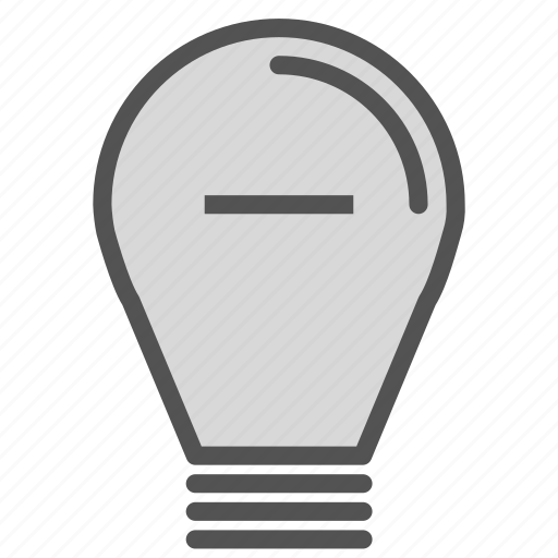 bulb, light, minus, remove icon