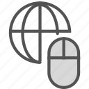 connect, globe, internet, mouse, network icon