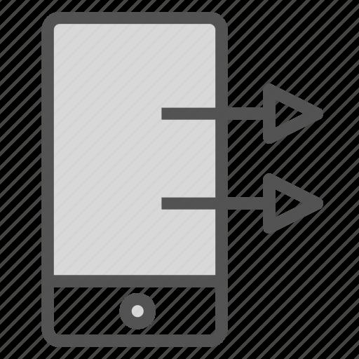 arrow, device, export, phone, right, smart icon