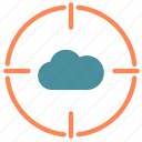 cloud, internet, network, point, target icon