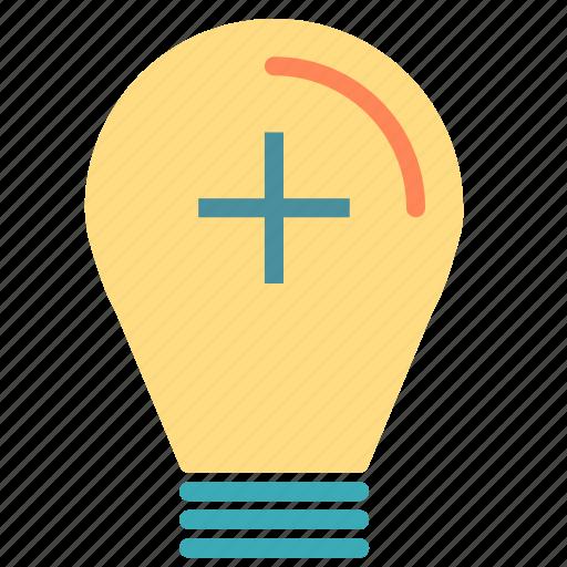 add, bulb, light, plus icon