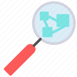 glass, magnifying, network, search icon