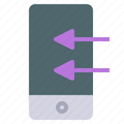 arrow, device, import, left, phone, smart icon
