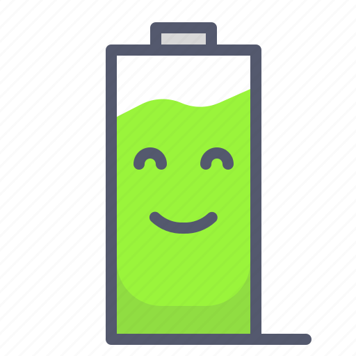 battery, full, mobile, phone, work icon