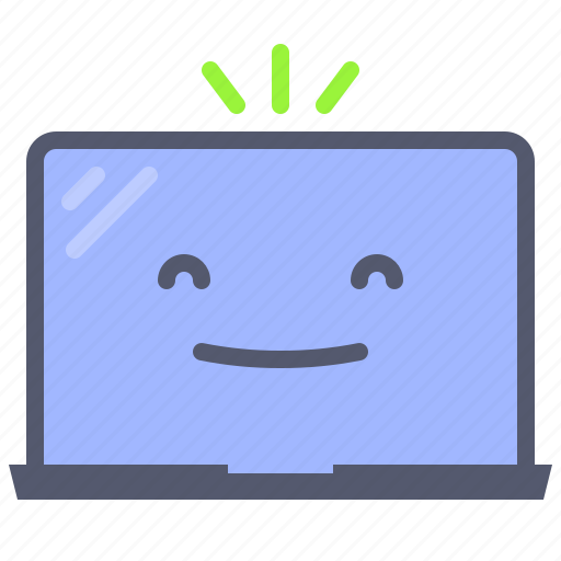 happy, laptop, mobile, traveler, work icon