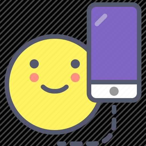 ios, iphone, mobile, smile icon