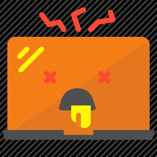 broken, bug, fix, laptop, virus icon