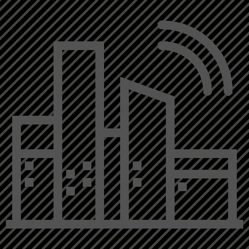 buildings, city, signal, wireless icon