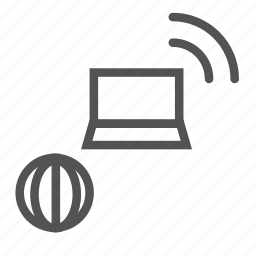 internet, laptopt, network, signal icon