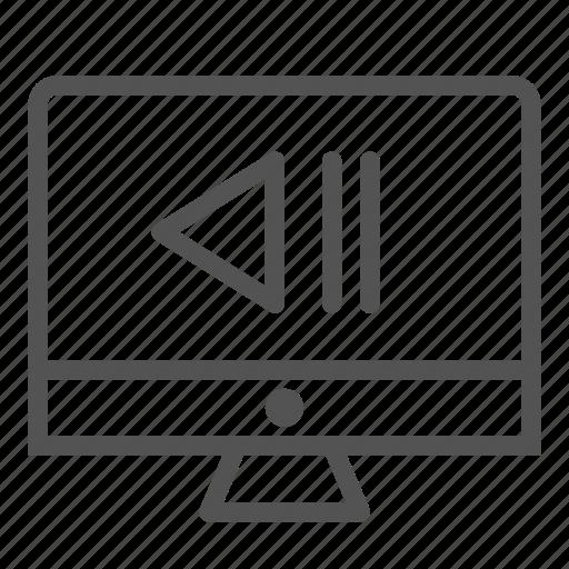 media, monitor, rewind, screen icon