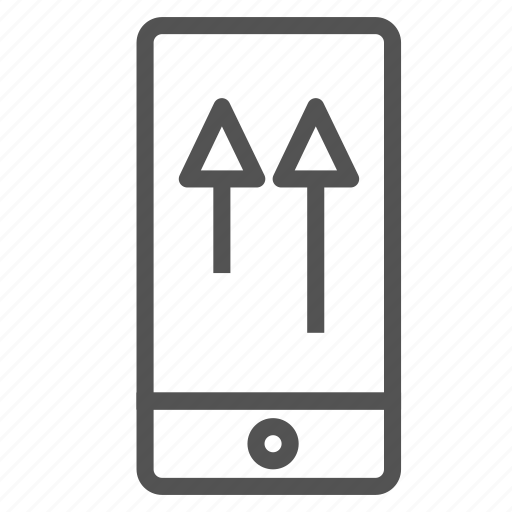 arrow, device, phone, smart, up, upload icon