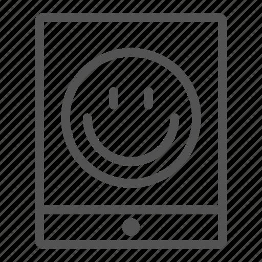 device, emoticon, face, portable, smiley, tablet icon