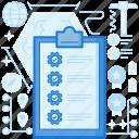 checklist, clipboard, cogwheel, confirm, gear, list, tech icon