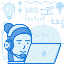 customer, headphone, headset, laptop, support, tech, woman icon