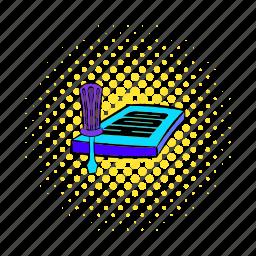 circuit, comics, equipment, harddisk, hdd, repair, technology icon