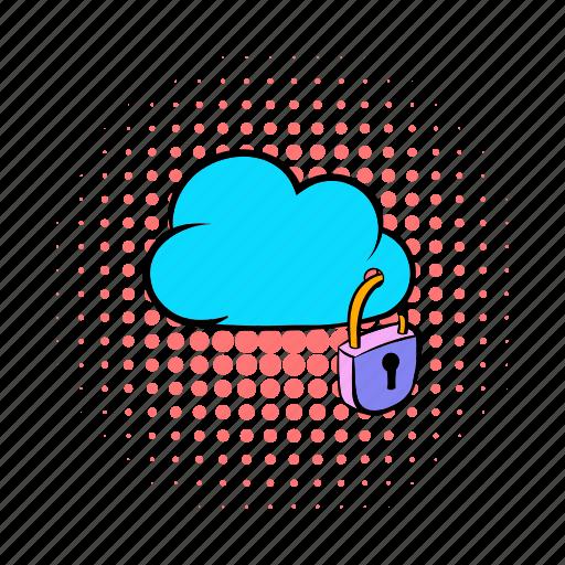 cloud, comics, internet, network, padlock, security, technology icon