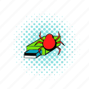 bug, comics, computer, data, flash, memory, virus icon