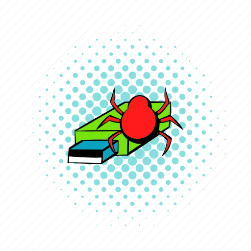 bug, comics, computer, data, flash, memory, virus icon