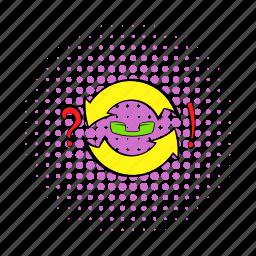 arrow, circle, circular, comics, pointer, question, round icon