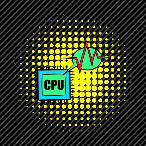 chip, circuit, comics, computer, processor, repair, service icon