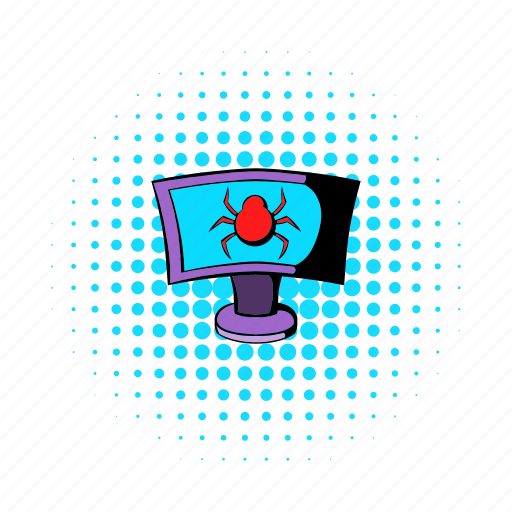 bug, comics, computer, monitor, network, safety, security icon