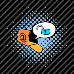 comics, lock, mail, mailbox, message, padlock, security icon