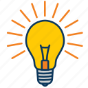 bright, bulb, idea, light, light bulb icon