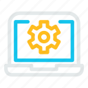 computer, desktop, laptop, monitorcogwheelgear icon