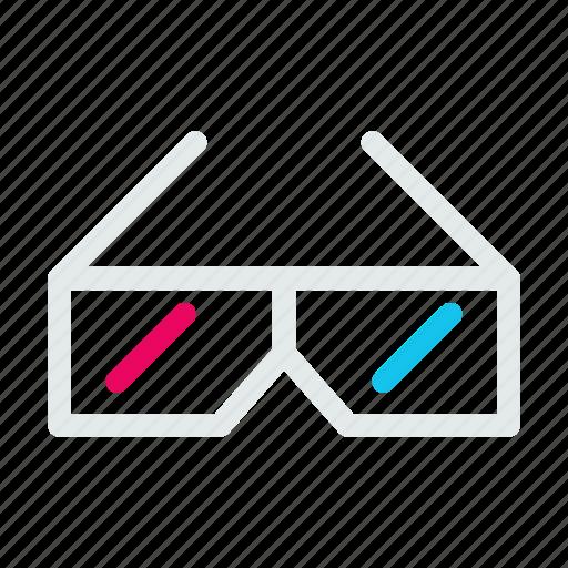 dimensional, entertainment, game, glasses, movie, three icon