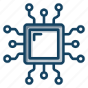 central processing unit, computer chip, cpu, microchip, microprocessor, processor chip icon