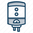 electronics, geyser, home appliance, hot bath, hot water, water heater icon